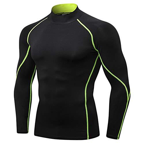 Guiran Hombre Camiseta De Compresión De Manga Larga Térmica Secado Rápido para Deportivos Verde XL