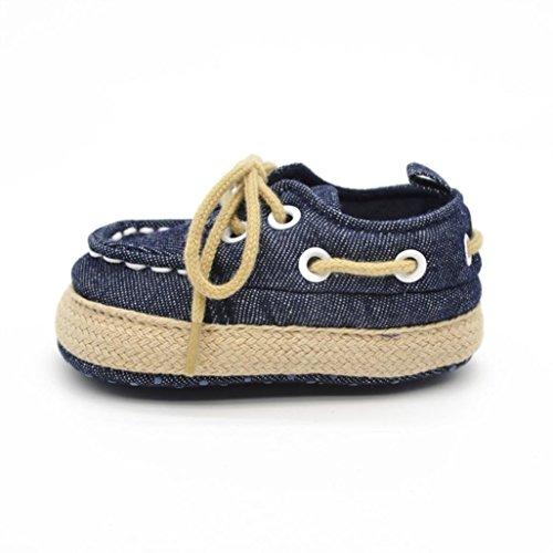 Hunpta Babyschuhe Mädchen Jungen Ularmo Schuhe für 0-18 Monate Baby, Weiche Sohle Kleinkind-Schuhe Segeltuch-Turnschuh (12, Rot) Dark Blue