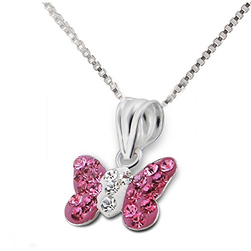 SL-Silver Set Kette Kinder Anhänger Schmetterling Kristalle 925 Silber in Geschenkbox