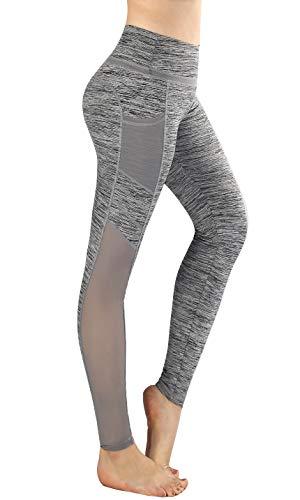 Flatik Damen Netzoberfläche Sport Gym Yoga Laufen Fitness Leggings Hose, Weiß/Grau, XS