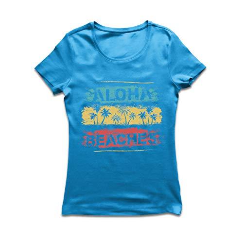 lepni.me Frauen T-Shirt Aloha Beaches, Strandurlaub Sommerfest Outfit (Small Blau Mehrfarben)