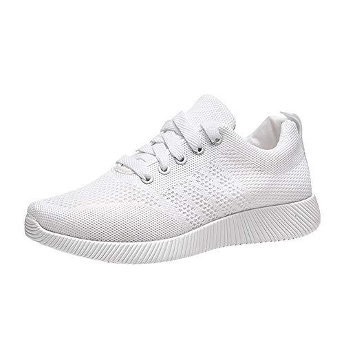 feiXIANG Damen Laufschuhe Sneaker Student Running Schuhe Einfarbig Sportschuhe Freizeitschuhe Flach Sicherheitsschuhe (Weiß,36) (Zu Machen Halloween-handwerk Kleinkindern Mit)