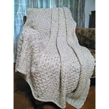 100% irlandés de lana pura manta de panal 60x 50cm por West End Knitwear