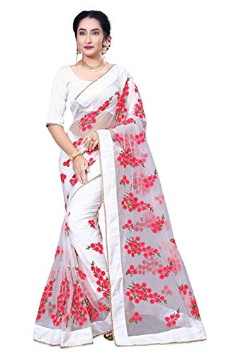 Surat Creations Designer White Net Saree with Red thread Embroidery And Moti lace border