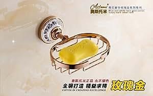 ROZINSANITARY Rosegoldene Politur Badezimmer Seifenschale Seifenhalter Seifenkörbchen zur Befestigung an der Wand
