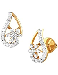 TBZ The Original 18KT Yellow Gold and Solitaire Stud Earrings for Women