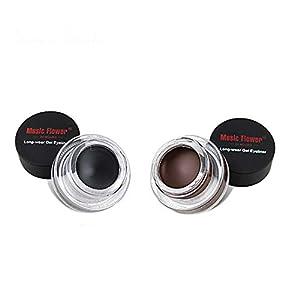 Musik Blume 2 In 1 Braun + Schwarz Gel Eyeliner Dual Farben Cremige Eyeliner Make Up Tool Wasserdichte Kosmetik Set