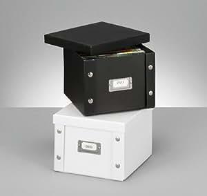 2x zeller dvd box aufbewahrungsbox mit deckel wei aus pappe f r 26 dvd 39 s neu baumarkt. Black Bedroom Furniture Sets. Home Design Ideas