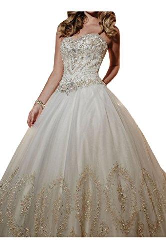 Ivydressing Damen Romantisch Herzform Duchesse-Linie Steine Brautkleid Hochzeitskleid-48-Elfenbein
