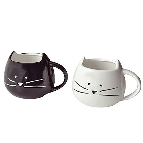Gosear 2 piezas Poco Blanco y Negro Gato Tazas de Cerámica taza de café leche agua para Regalo de Cumpleaños de Navidad