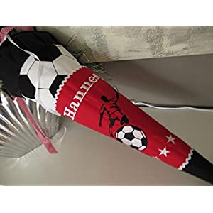 #91 Fussball Kicker Fussballer rot schwarz Schultüte Stoff + Papprohling + als Kissen verwendbar