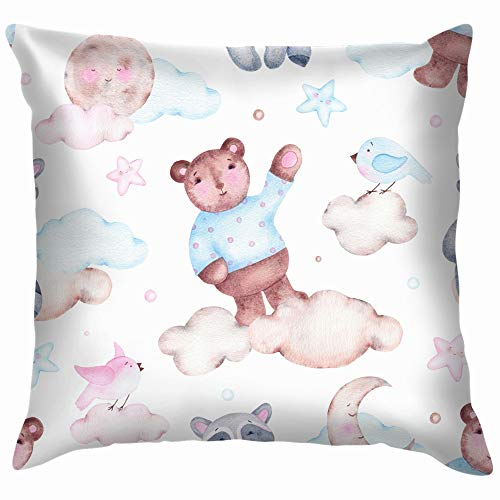 beautiful& Watercolor Bear Raccoon Moon Animals Wildlife Adventure Throw Pillow Case Cushion Cover Pillowcase Watercolor for Couch 18X18 Inch