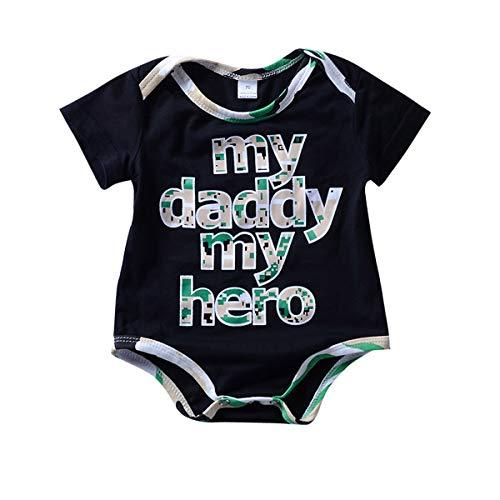 808963fba2f49 Yonimu Summer Baby Boys Pagliaccetto, My Daddy My Hero Vestiti a Maniche  Corte Stampate (Color : Black, Size : 18-24M)