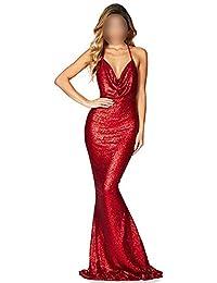 10432340d412 Honneury Vestito da partito del vestito dalla sirena del Backless della  sirena della cinghia di spaghetti