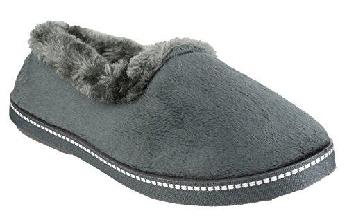 Mirak Ladies Dijon Faux Fur Accented Textile Stitch Slipper Black Gris