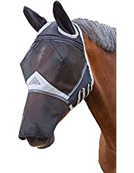 Shires Fine Mesh Fly Mask Ears Nose Extension - Black