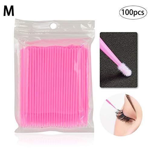 100PCS / SET Einweg Microbrush Applikatoren Wimpern Extensions Bürste Einzelne Wimper Entfernen Swab Mascara Applikator Make-Up Schönheit Werkzeuge 2mm (Pink)