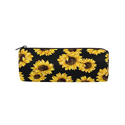 (Ahomy Federmäppchen, Wasserfarben, Sonnenblumen-Design, Reißverschluss, Bleistifttasche für Teenager Mädchen und Jungen, Reise-Make-up-Tasche für Frauen)