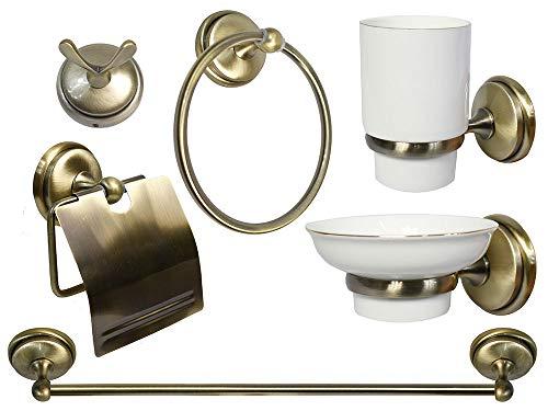 Vetrineinrete® set da bagno design classico in metallo oro satinato ceramica 6 pezzi accessori arredo bagno semplice porta saponetta portarotolo spazzolini asciugamano a46