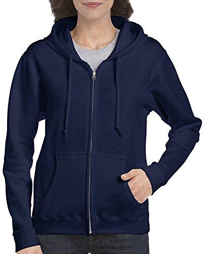 Gildan Damen Full Zip Hooded Sweatshirt Kapuzenpulli, Navy, Klein - Best Full Zip Hooded Sweatshirt