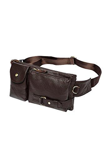 Vococal® Männer Tragbare Leder Hüfttaschen - Herren Outdoor Kleine Handy Geld Inhaber Hüftgurt Taschen Schultertaschen, Kaffee #4
