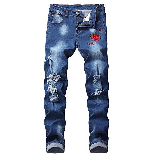 Herren Jeans Hose Mode Denim Hose Distressed Jeans Hose individuelle mit bedruckter Hose (E,XXL)
