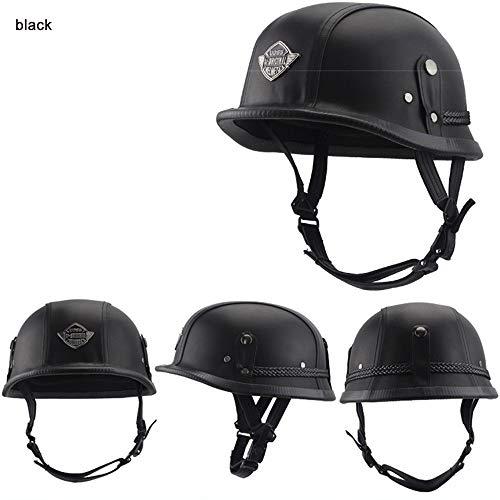DUANYR-Helmet Motorradhelm Half Open, Retro Persönlichkeit Kopf Sommer Pedal Lokomotive Cruise Lederhelm Vier Jahreszeiten Anzug Für Eingebaute Brille