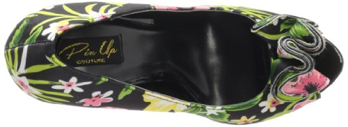 Pinup Couture Peeptoes Lolita-11 Blk Floral Print Fabric