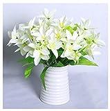 ADLFJGL Kunstblumen Im Topf,Brautblumenstraußwohnzimmerdekoration Der Künstlichen Blume Der Lilienblume Künstliche Blume Gefälschte Blumengeburtstagsfeier-Blumendekoration Weiß
