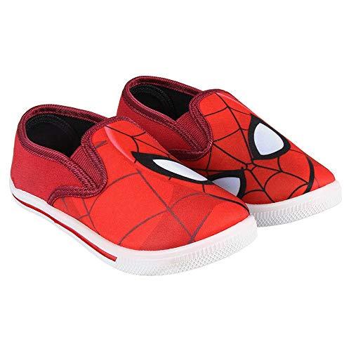 Spiderman-Kindersegeltuchschuhe von Marvel Avengers Ohne Saiten. Rot (Größen 22 bis 29) (24 EU)