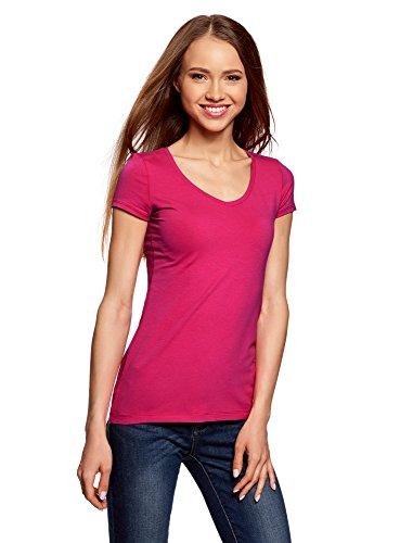 oodji Collection Damen Tagless T-Shirt Basic mit V-Ausschnitt, Rosa, DE 36/EU 38/S