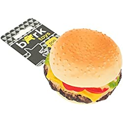 BARK - Juguete de vinilo en forma de hamburguesa, comida para perros. No tóxico. Diversión y estética. Con sonido. Juego independiente. El favorito de los perros adultos. Flexible. Masticable. - MULTICOLOR