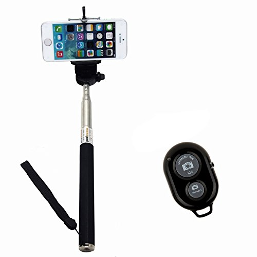 PINPO(TM) Nero estensibile impermeabile Autoritratto Foto Selfie palmare Stick monopiede Con Adajustable Phone Holder stand per iPhone 5/5s 5C iPhone 6 Samsung Blackberry Camera & Wireless Camera Self- timer Regolatore di scatto remoto Bluetooth per iOS Smartphone Android