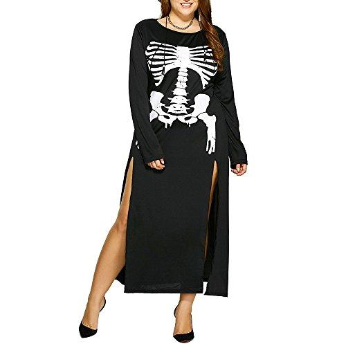 Vin beauty Halloween Plus Size Schlitz Langarm Casual Skelett Knochen Fit O Hals gedruckt Mini Bodycon Tunika Kleid