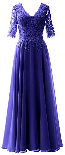 MACloth Elegant Half Sleeves Mother of Bride Dress V Neck Evening Formal Gown Royal Blue