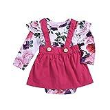 MRULIC Kinder Baby Mädchen Blume Strampler Tops + Rock Princess Outfit Kleidung Set(Pink,Höhe:75-80CM)