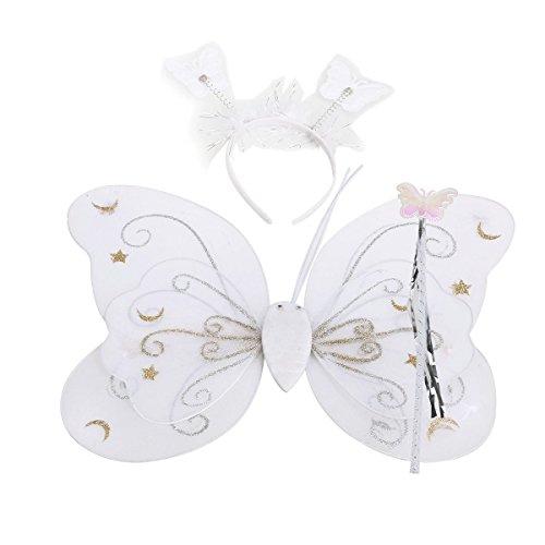 NUOLUX Satz von 3pcs Kinder Schmetterling Flügel Zauberstab Stirnband Fee Cosplay Party Phantasie Kinderkostüm (weiß) (Schöne Fee Flügel)