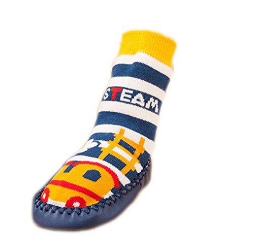 Moolecole Baby Boy Toddlers Kids Indoor Slippers Shoe Socks Moccasins ANTI SLIP Blue Steam Train