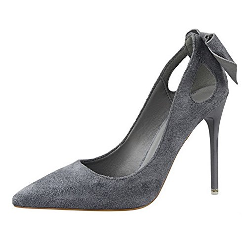 Senhoras Aalardom Misturar-primas Estilete Bombas Toe Pontiagudas Puxar Em Sapatos Com Curva Cinzenta-ciclo