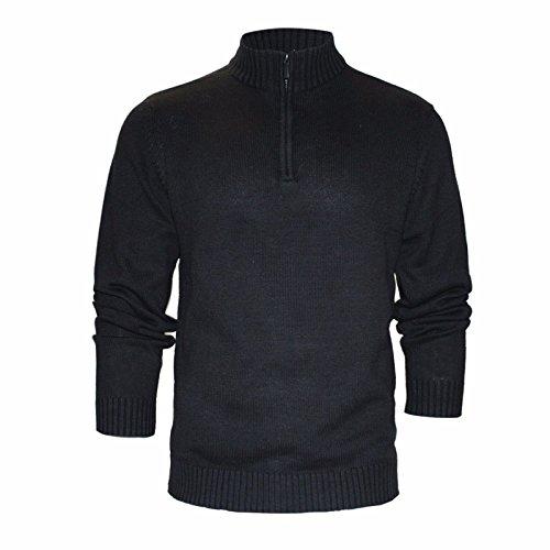 STALLION HERREN ZIP NECK PULLOVER: Merino Base Layer Strickpullover Sweatshirt Golf Baumwoll Sweater für Männer ( Farbe : Schwarz , und Blau / Größe : L , XL & XXL) (Schwarz, Large) (Style Cardigan Pullover Golf)