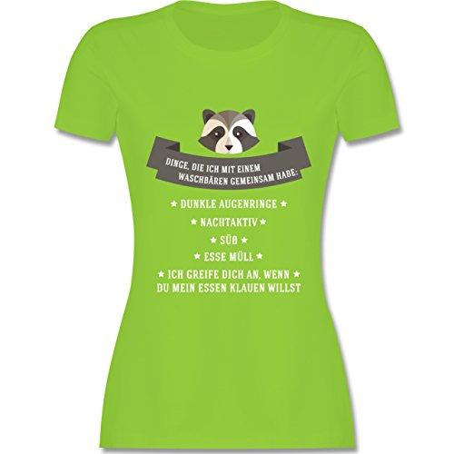 Statement Shirts - Waschbär Gemeinsamkeiten - tailliertes Premium T-Shirt mit Rundhalsausschnitt für Damen Hellgrün