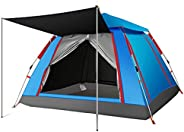 Charhoden SQ-086-B Large size Family Automatic Four Sided Camping Tent Blue - Blue, Large