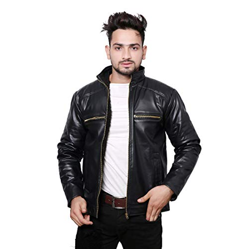 Life Trading Hot Released Faux Leather Jacket for Mens and Boys (Black, Medium)