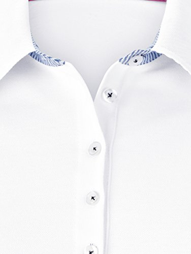 Damen Poloshirt aus Baumwoll-Piqué by MONA weiß-blau