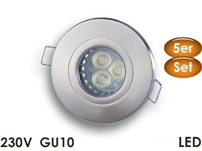 5er Set 230V Einbaustrahler | Einbauleuchte Ultra-PowerLED 5W für Bad, Dusche, Aussenbereich | Markenware | IP54 | Metall gebürstet | innerh. BRD Versandkostenfrei