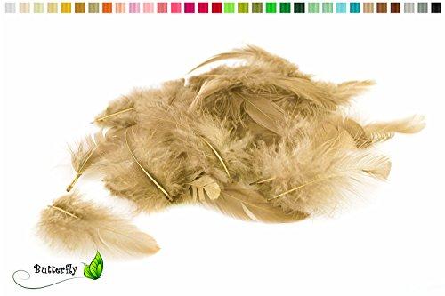 5g Bastelfedern 5-10cm ( sand / beige / natur 835 ) // Dekofedern Hühnerfedern Marabu Federn Schmuckfedern Marabufedern - 2g Sand