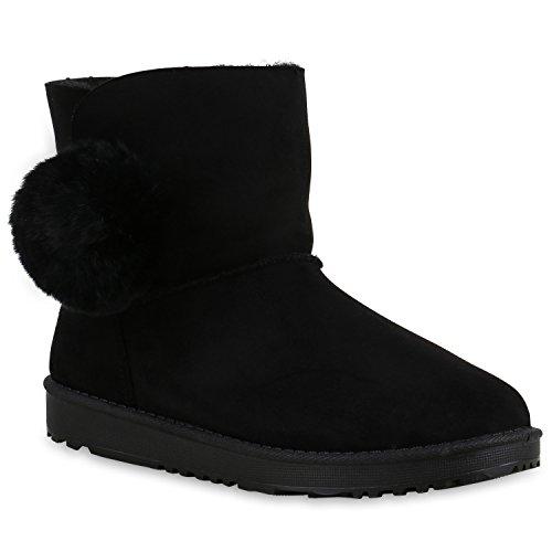 Damen Schlupfstiefel Warm Gefütterte Stiefel Stiefeletten Winter Boots Bommel Pailletten Glitzer Snake Print Schuhe Flandell Schwarz Bommel