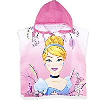 Disney Official Princess Licensed Girls Hooded Characters Poncho Towel. Microfiber Fabric The Best Water Absorbent. Perfect for Bath and Beach - Pink