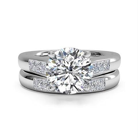 Solide 14K Weiß Gold Diamant Engagement Hochzeit Ring Band Set 1,30ct Rundschliff VVS1Lab Erstellt Diamant Größe I, J, K L M N O P Q R S T - 59 (18.8)