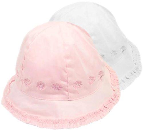 Pesci Baby bébé Filles Soleil Coton Chapeau Casquette brodé Choix de Rose  ou Blanc - cf00e96bb21
